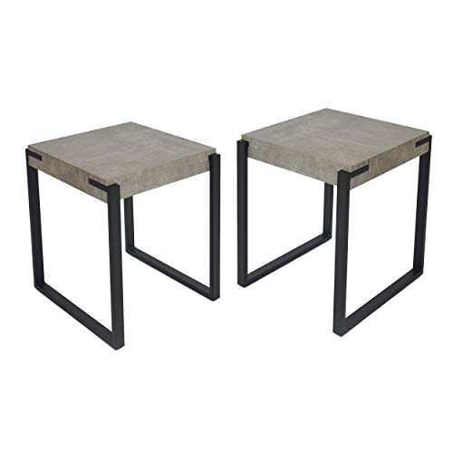 Great Deal Furniture 307003 Bates End Tables - Modern - Contemporary - Faux Wood Top - Metal Legs - Light Concrete and Matte Black - Set of 2, (Table Top Cement End)