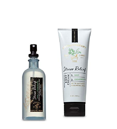 Bath and Body Works - (2019) - Aromatherapy - Sage Cedarwood - Pillow Mist & Body Cream - Gift Set (Best Body Pillow 2019)