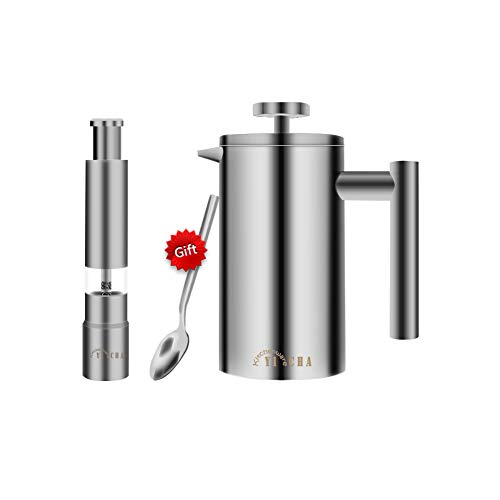 YICHA Kitchenware Heavy Duty Double-layers Stainless Steel 2-3 Cups (3-6oz/Cup) French Press Small Coffee/Tea Maker 12oz/350ml, Manual Thumb Push Pepper Grinder Salt Mill, Bonus Tea Spoon, Pack of ()