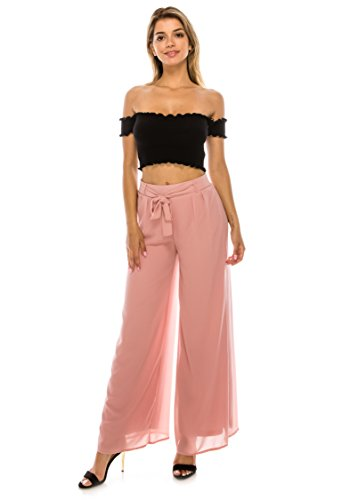 The Classic Women's Casual Chiffon Ruffle Tie Wide Leg Long Pants