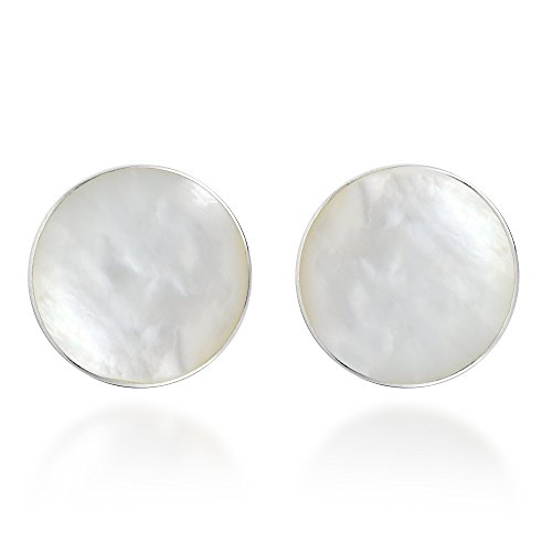 Nice Round White Mother of Pearl .925 Sterling Silver Stud Earrings
