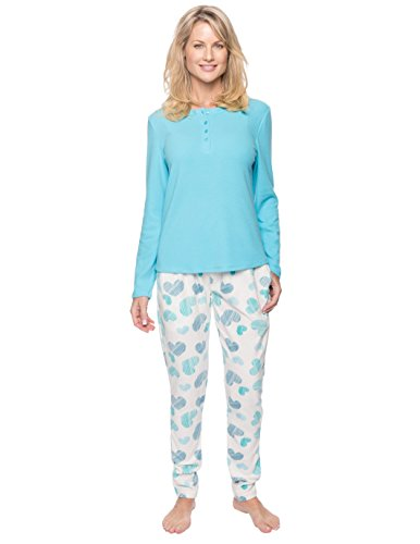 Women's Microfleece Lounge Set - Scribbled Hearts White/Blue - X-Large