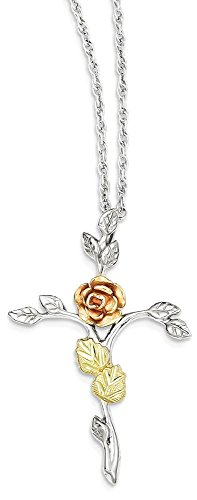 ICE CARATS 925 Sterling Silver 12k Rose Cross Religious Chain Necklace Crucifix Fine Jewelry Gift Set For Women Heart