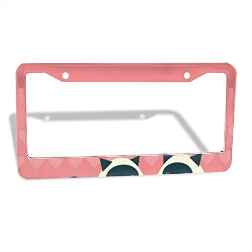 Couple of Siamese Cats License Plate Frame Cover 2-Pack Premium Quality Novelty Metal Aluminum Custom License Plate 2 Holes for Cars Womens 12