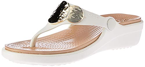 Women Footwear Sandals - crocs Women's Sanrah Embellished Wedge Flip, Oyster/Gold, 7 M US