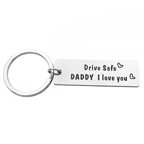 Daddy Drives - Meibai Trucker Dad Gift Drive Safe Hand Stamped Tag Keychain Personalized Fathers Day Gift Men Gift (Drive Safe Daddy I Love You)