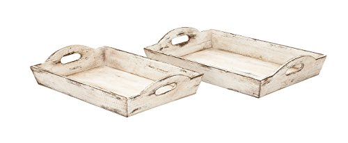 Tray Distressed White (Deco 79 39464 Wood Tray, Set of 2)