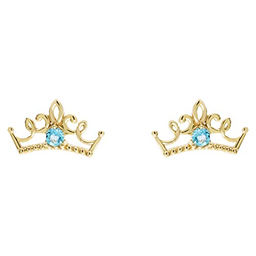 Disney Princess Jewelry for Girls, 14KT Gold and Topaz Tiara Stud Earrings ()