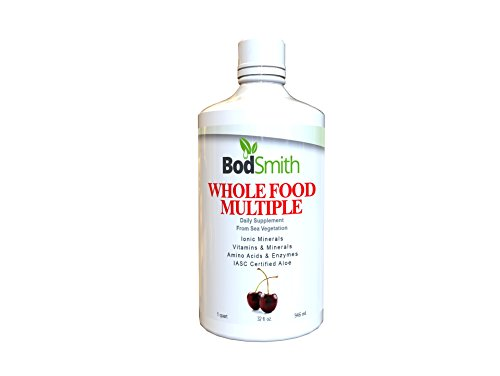 Líquido Multi comida entera con vitaminas minerales iónicos y minerales aminoácidos y enzimas Iasc certificado Aloe 100% vegetariano 32oz botella sabor cereza.