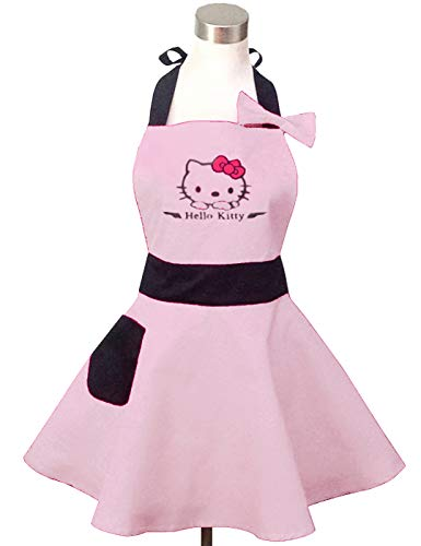 Lovely Hello Kitty Light Pink Retro Kitchen Aprons for Woman Girl Cotton Cooking Salon Pinafore Vintage Apron Dress ()