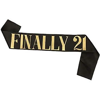 DorAn Finally 21 Sash 21st Finally Legal Sash(Black)