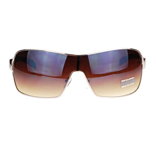 Mens Italian Designer Fashion Rimless Shield Sport Aviator Sunglasses