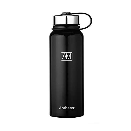Ambater Vacuum Insulated Sports Bottle Wide Mouth Stainless Steel Water Bottle Portable Leak-Proof Flask for Hot and Cold Drinks, 37oz,38oz,26oz (38oz, Black)