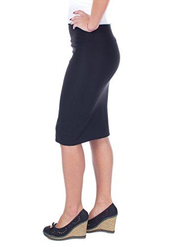 Women Casual Below Knee Plus Size Pencil Skirt for Office Wear (Black,1X)