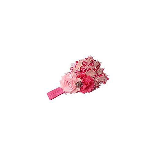 Pretty Kids Accessories,FuzzyGreen Lovely Baby Toddlers Child Girls Hot Pink and Pink Feather Two Roses Sequin Rhinestone Diamond Flower Applique Elastic Stretch Headband Headdress Hairband Hair Acce