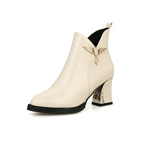 Boots Metal Imitated Chunky Rivet Leather Heels 1TO9 Ornament Beige Girls A8n1p
