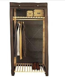 Polycotton Und Holz Single Kleiderschrank Dunkelbraun 22 Amazon