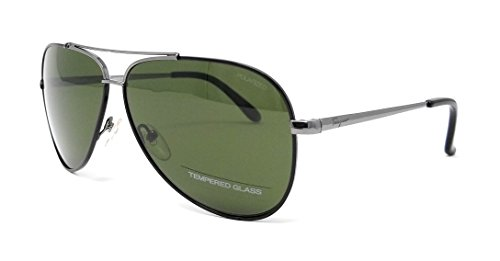 Sunglasses FERRAGAMO SF131SGP 037 SHINY DARK GUN W/BLACK - Aviator Ferragamo Sunglasses