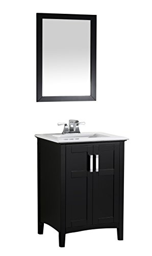 "Simpli Home Winston 24"" Bath Vanity with Quartz Marble Top, Black"
