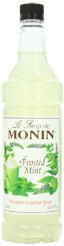 Monin Flavored Syrup, Frosted Mint, 33.8-Ounce Plastic Bottles (Pack of -