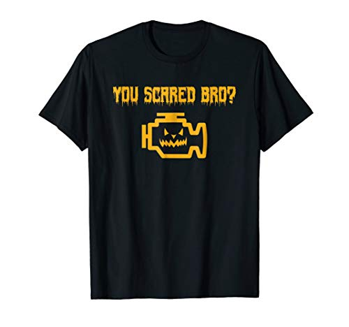 Mens Halloween Car Mechanic T-Shirt | Funny Joke Check Engine ()