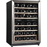 midea WHS-168WE(N) 45-Bottle Wine Cooler, Stainless Steel