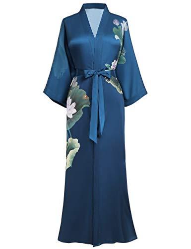 PRODESIGN long Kimono Robe Satin Sleepwear Gradient Watercolor Silky Kimono Nightgown Bathrobe Kimono Blouse Cardigan