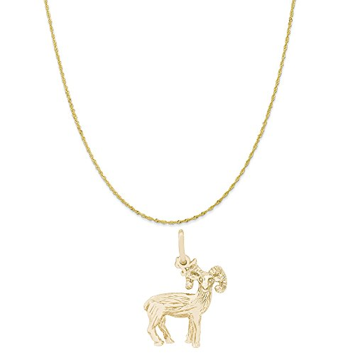 Big Twist Pendant - Rembrandt Charms 10K Yellow Gold Big Horn Sheep Charm on a Twist Curb Chain Necklace, 16