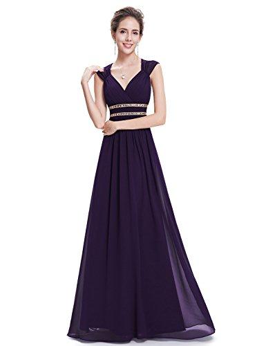 Ever Pretty - Vestido largo de noche elegante con cuello en V - 08697 morado