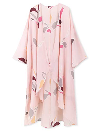 (Moss Rose Chiffon Kimono Beach Cover Up Casual Cardigan with Floral Print)