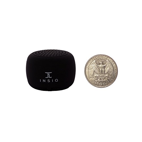 World's Smallest Portable Bluetooth Speaker - Great Audio Quality for its Size - 30+ Feet Range - Photo Selfie Button Answer Phone Calls Compact Compatible with Latest Phone Software (Black) ()