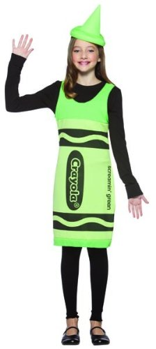 Crayola Logo For Costume (Rasta Imposta Crayola Tank Dress Teen Costume, Screamin' Green, Teen 13-16)