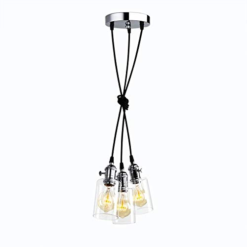 Pathson Industrial Mini Pendant Lighting, 3 Lights Vintage Simple Home Ceiling Light Fixture Flush Mount with Adjustable Textile Cord Pendant Cluster Light (Chrome Mini Pendant Caps)