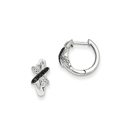 Rhodium Diamond Hinged Earrings (Black & White Diamond X Hinged Hoop Earrings in Sterling Silver 12mm)
