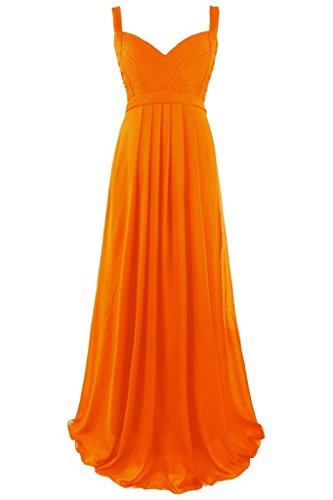 Dresstore Women's Long Spaghetti Straps Bridesmaid Dress Empire Formal Evening Gowns Orange US 24Plus