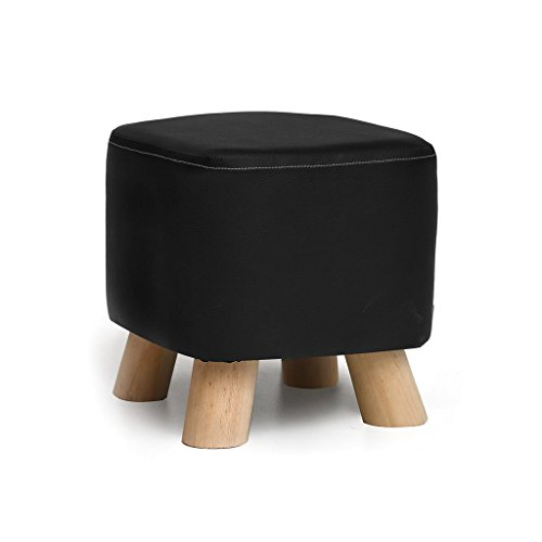 DDSS Solid Wood Shoes Stool Fashion Creative Party Fabric Sofa Tea Table Bench Home Stool 4 Styles(28cmX25cm) Ottoman Footstool (Color : Black)