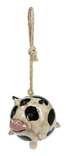 Ganz Cow Stoneware Bell Hanging Ornament -