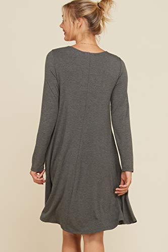 Solid Grey Mid Dress Sleeve Long Pockets Round Mid 3XL Line Length Annabelle A Women's S Neck RUXaaw
