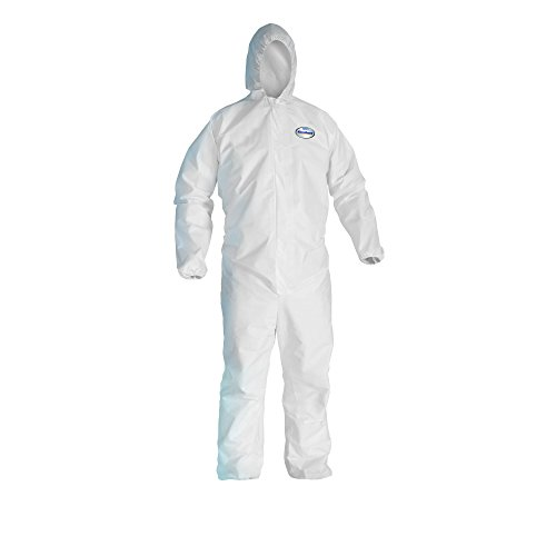 Kleenguard A20 Breathable Particle Protection Hooded Coveralls  (41170), REFLEX Design, Zip Front, Elastic Wrists & Ankles, White, 2XL, Convenience Pack of 1 Pair