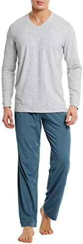 DAVID ARCHY Men's Cotton Long Sleeve Sleep Top and Bottom Pajama