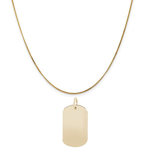Rembrandt Charms 14K Yellow Gold Dog Tag Accent Charm on a 14K Yellow Gold Curb Chain Necklace, 16