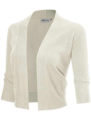 MAYSIX APPAREL 3/4 Sleeve Solid Open Bolero Cropped Cardigan For Women IVORY L