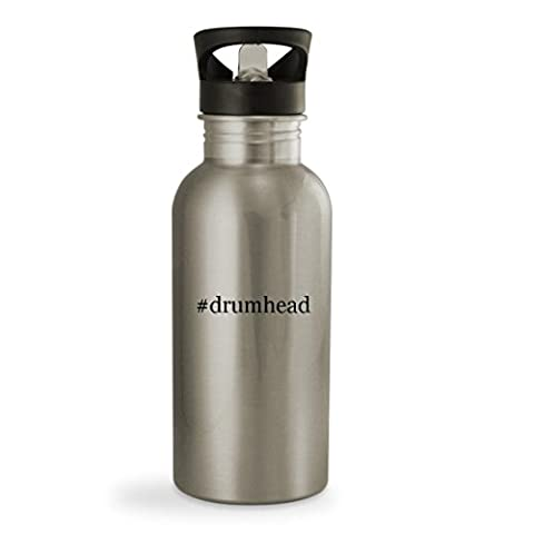 #drumhead - 20oz Hashtag Sturdy Stainless Steel Water Bottle, Silver (Evans G2 14 Snare)