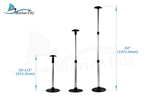 Marine City Aluminum Telescoping Spherical-Top Boat Cover 3 Section Support Stand Pole