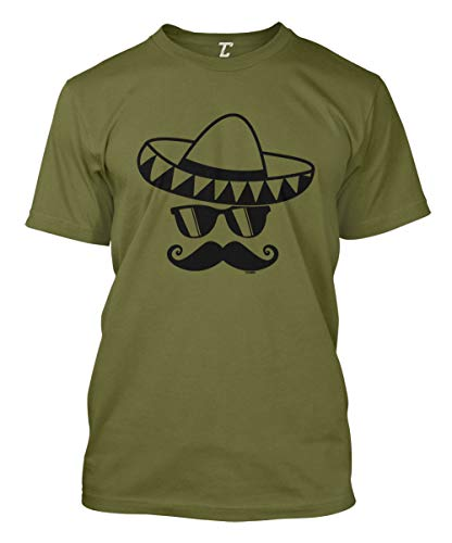Cinco De Mayo Mustache Face - Sombrero Men's T-Shirt (Olive, Large)