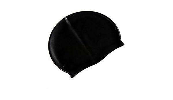 Negro Hnourishy Gorro de nataci/ón Impermeable de Silicona Suave Protege Las Orejas Cabello Largo Deportes Gorro de nataci/ón en Piscina para Hombres y Mujeres Adultos