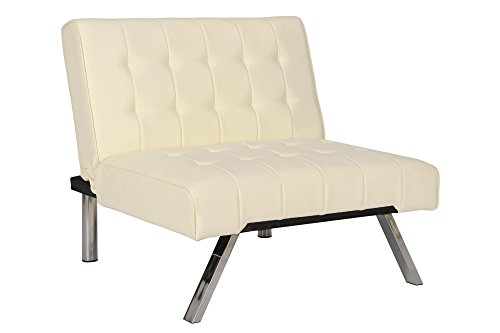 - DHP Emily Accent Chair with Split-Back and Chrome Legs, Vanilla Faux Leather