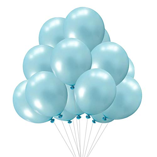 20Pcs 12'' Gold Silver Black Pink Latex Balloons Happy Birthday Wedding Party Decor Inflatable Air Helium Globos Kids Supplies Light Blue 1.3G 5Inch]()