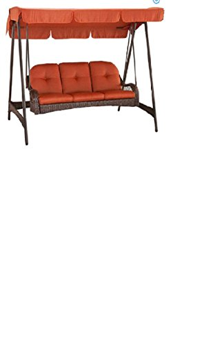 3 Person Seater Outdoor Swing All Weather Wicker with Canopy Top - All Weather Wicker Swing