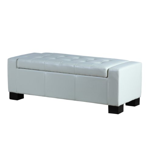 Best Selling Guernsey Leather Storage Ottoman, Ivory